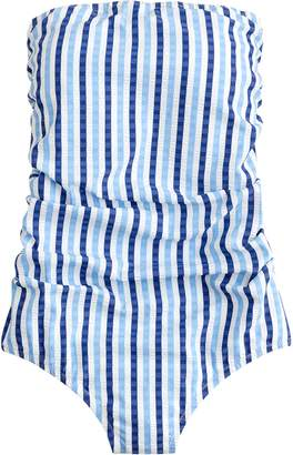 J.Crew Puckered Stripe Ruched Bandeau One-Piece Swimsuit b974a0fa0b