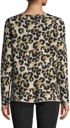 Central Park West Fuzzy Leopard Print Crewneck Sweater