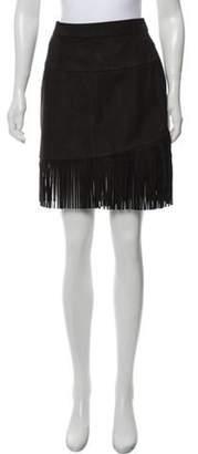 Frame Suede Fringe Skirt Black Suede Fringe Skirt