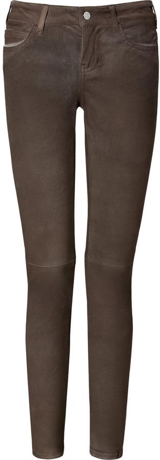 Vanessa Bruno Espresso Slim Fit Leather Pants