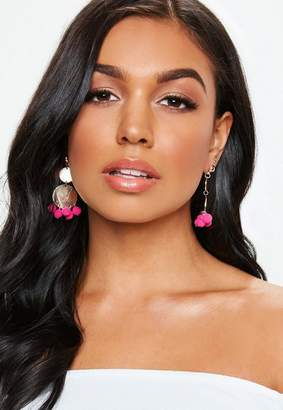 Missguided Gold Look Pink Pom Pom Earrings