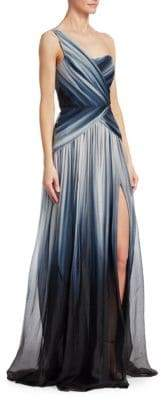 Pamella Roland Multi-Ombre Pleated One-Shoulder Silk Gown