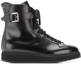 Santoni buckled combat boots