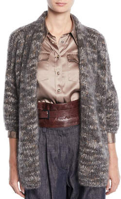Brunello Cucinelli Mohair-Cashmere Tweed Cross-Front Cardigan