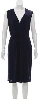 Halston Surplice Neckline Midi Dress