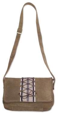 Laced Up in Neutral Olive Brown Suede Sling with Woven Fabric Accent