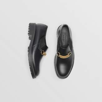 Burberry Link Detail Leather Shoe , Size: 42, Black