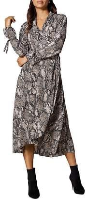 Karen Millen Snake Print Midi Wrap Dress