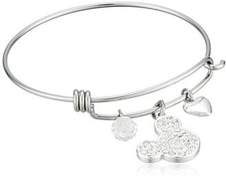 Disney Stainless Steel Catch Bangle with Plated Crystal Mickey Mouse Head