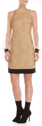 Les Copains Soutache Mesh Sleeve Dress
