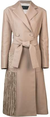 Proenza Schouler Chenille Embroidered Long Belted Coat