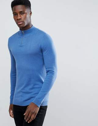 Asos Half Zip Cotton Sweater In Sky Blue