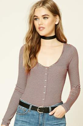 Forever 21 Striped Scoop-Neck Top
