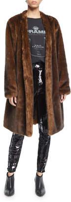 Frame Faux-Mink Open-Front Long Jacket