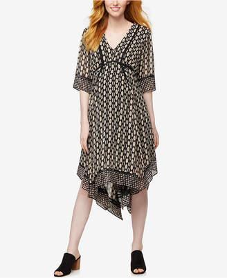 Taylor Maternity Printed Handkerchief-Hem Dress