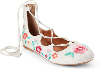 Nina Kids Girls) Silver Philicity Embroidered Lace-Up Flats