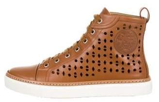 Hermes Leather Laser Cut Sneakers