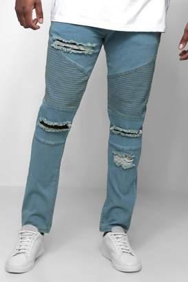 boohoo Big & Tall Skinny Fit Ripped Biker Jeans