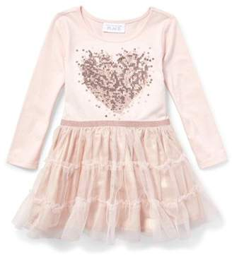 Children's Place The Baby And Toddler Girls Heart Dress with Mesh Skirt