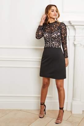 Next Womens Sistaglam Lace Long Sleeve Skater Dress