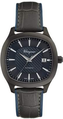 Salvatore Ferragamo Men's 'Ferragamo Time' Swiss Automatic Stainless Steel and Leather Casual Watch, Color: (Model: FFW060017)