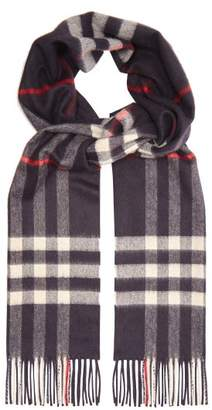 Burberry Exploded Check Cashmere Scarf - Mens - Navy