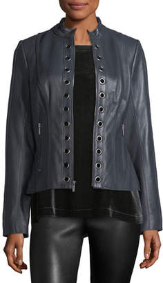 Neiman Marcus Leather Collection Grommet-Trim Leather Moto Jacket