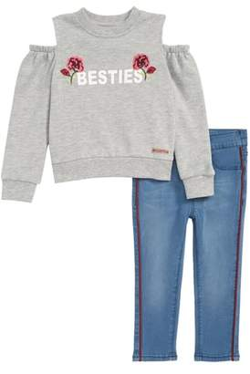 Hudson Besties Cold Shoulder Sweatshirt & Jeans Set