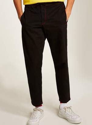 Topman Black Contrast Stitch Woven Joggers
