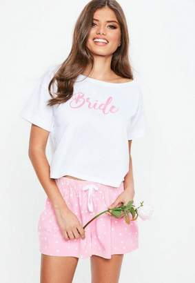 Missguided White Bride Crop Short Jersey PJ Set