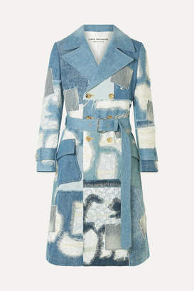 Junya Watanabe Lace-trimmed Double-breasted Patchwork Denim Coat - Blue