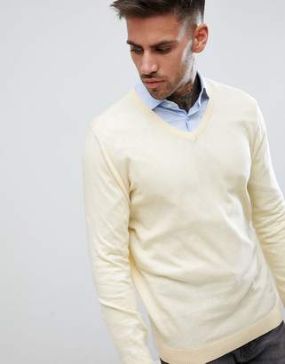Asos DESIGN Cotton V-Neck Sweater In Pale Yellow