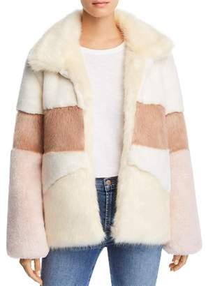 Apparis Amy Color-Blocked Faux-Fur Coat