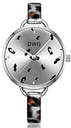 754e637eb2 DWG 腕時計 豹柄 細身バンド クリスタル 大きな文字盤 クォーツ エレガント おしゃれ かわいい 誕生日
