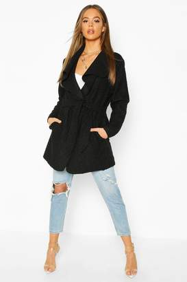 boohoo Belted Waterfall Faux Fur Teddy Coat