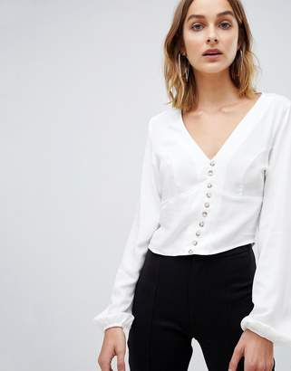 Stradivarius button front blouse in white