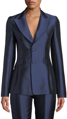 Gabriela Hearst Serge Single-Breasted Silk-Wool Blazer