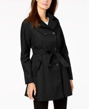 Laundry by Shelli Segal Hooded Velvet-Trim Trench Coat