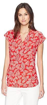 Anne Klein Women's Printed Cap Sleeve V-Neck TOP