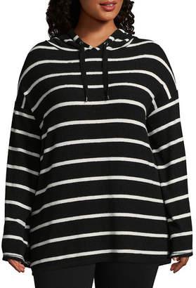 Boutique + + Long Sleeve Hoodie Sweatshirt - Plus