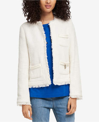 DKNY Cotton Tweed Fringe Jacket, Created for Macy's