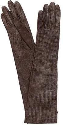 Dolce & Gabbana Herringbone Leather Gloves Olive Herringbone Leather Gloves