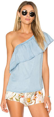 7 For All Mankind One Shoulder Top in Blue $139 thestylecure.com