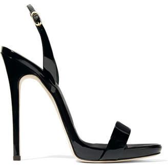 Giuseppe Zanotti - Sophie Patent-leather Slingback Sandals - Black $650 thestylecure.com