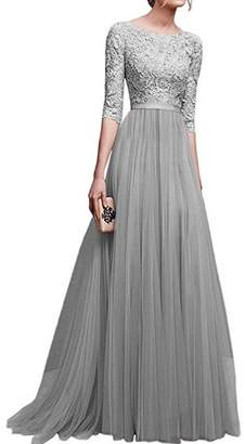 IBTOM CASTLE Women's Tulle Floral Lace Bridesmaid Long Dress Prom Evening Cocktail 3/4 Sleeves Floor Length Retro Vintage Formal Maxi Gowns 3XL