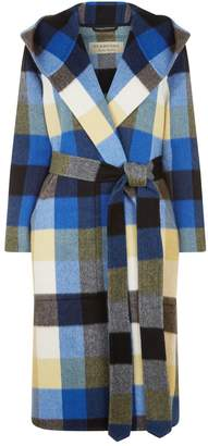 Burberry Check Alpaca Dressing Gown Coat