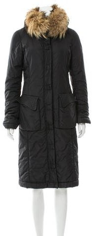 Valentino Valentino Fur-Trimmed Long Coat