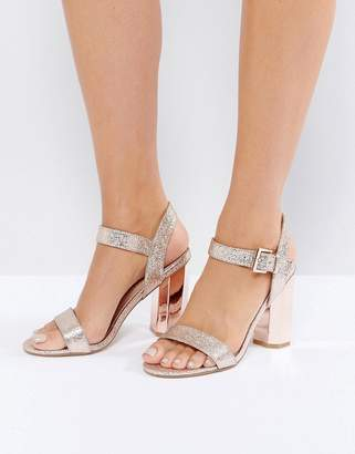 Call it Spring Call It Spring Burgersdorp Pink Glitter Two Part Heeled Sandals $79 thestylecure.com