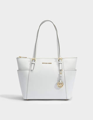 MICHAEL Michael Kors Jet Set Item East-West Top Zip Tote Bag in Optic White Saffia Leather