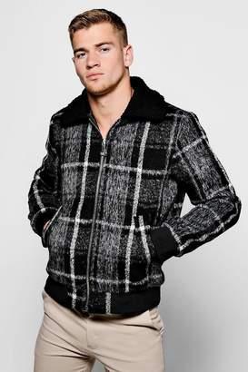 boohoo Check Harrington Jacket With Faux Fur Collar